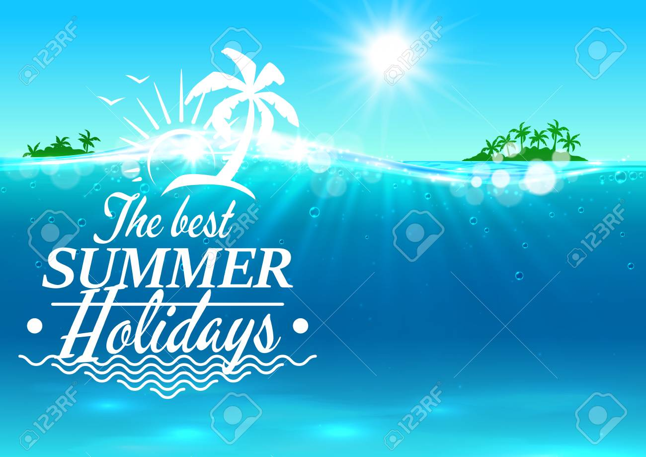 best summer holidays banner vector ocean waves background with