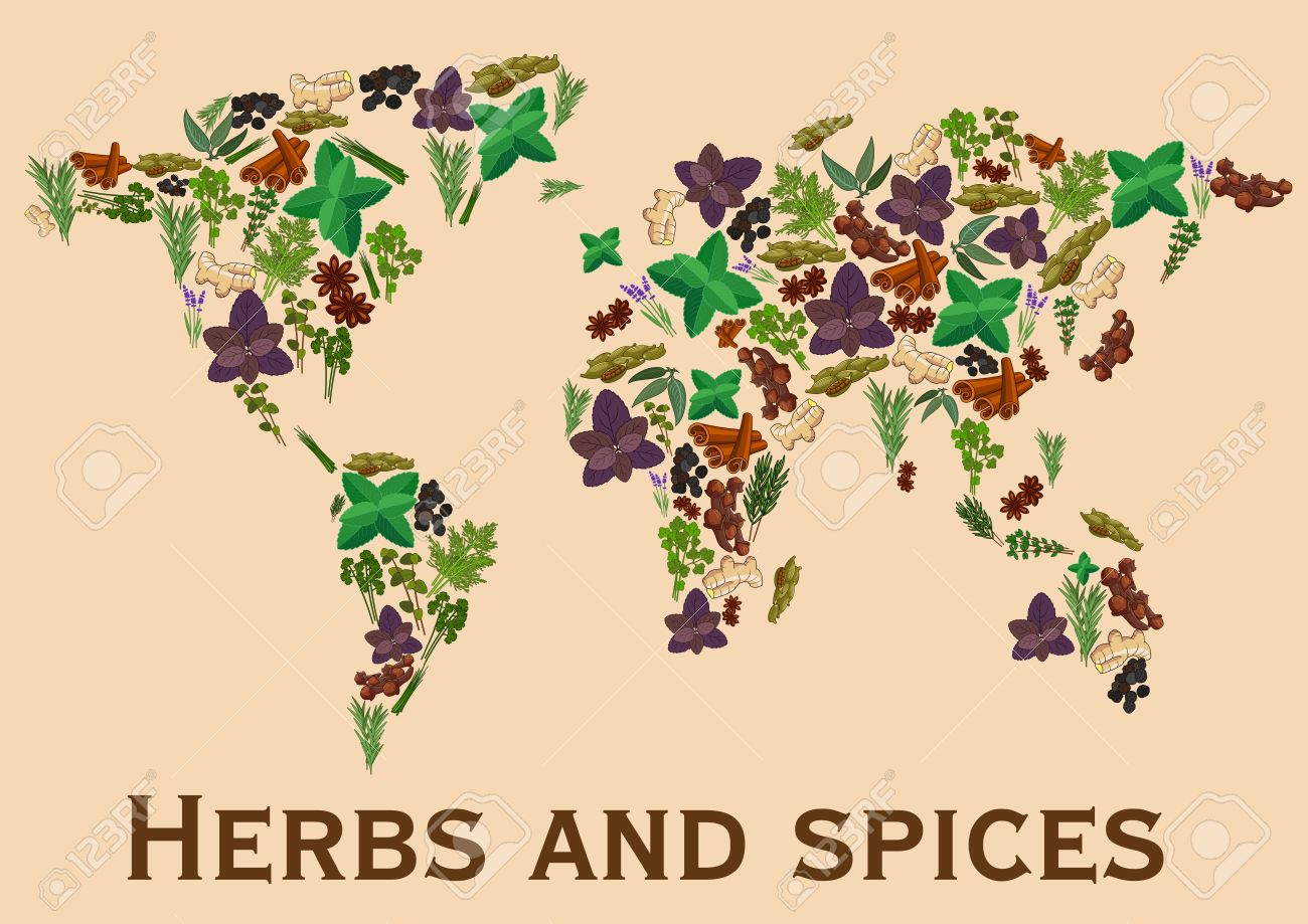 Herbs and spices flat icons in world map shape continents map herbs and spices flat icons in world map shape continents map of spice and herb gumiabroncs Gallery