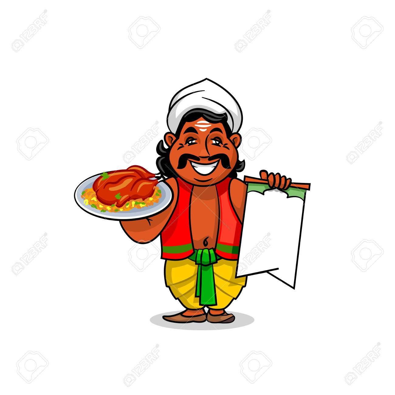 Cocina India Icono. Cocinero Chef Indio En La Plantilla De La ...