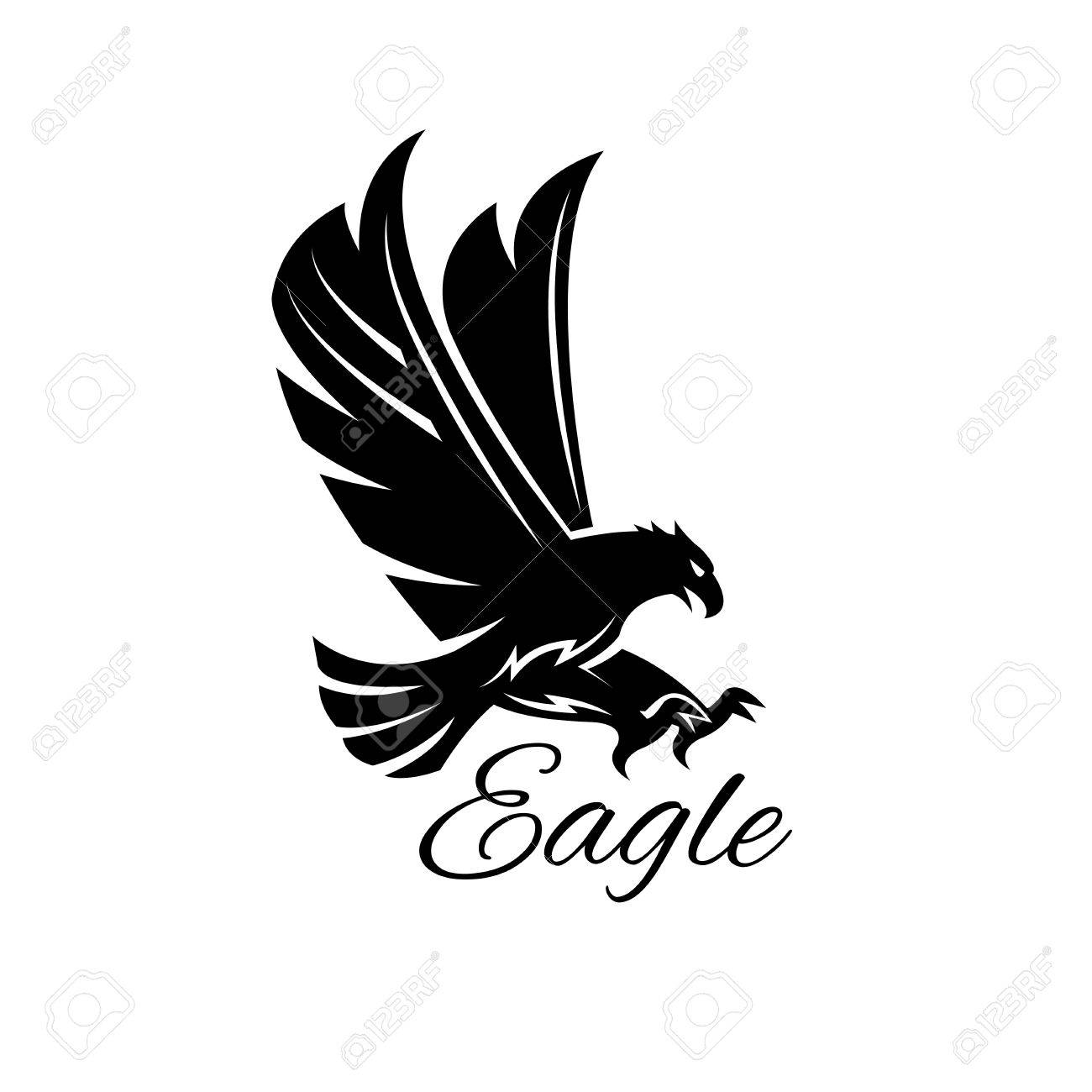 Eagle bird black icon heraldic emblem of powerful wild falcon eagle bird black icon heraldic emblem of powerful wild falcon with stretching clutches symbol biocorpaavc Images