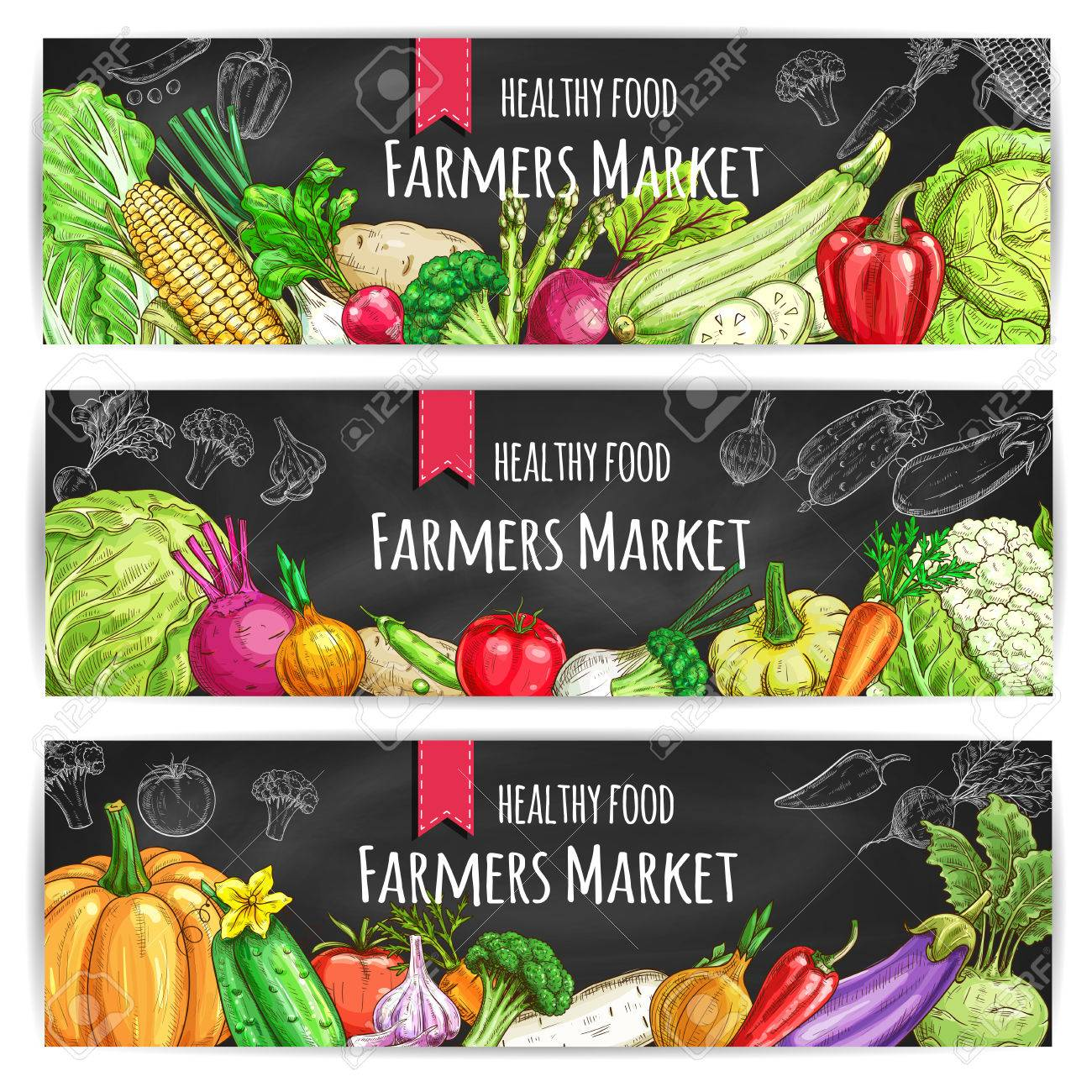 Veggies of farmer market. Vegetarian healthy food banners set. Chalk sketch vegetable pumpkin and cabbage, onion and broccoli, pepper and cucumber, tomato and celery, radish, carrot and beet, potato on blackboard - 65362581