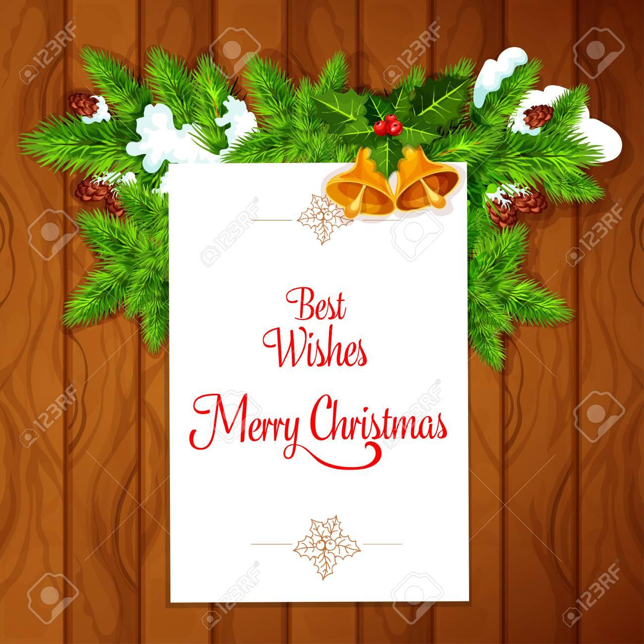 Weihnachtsgrußkarte Auf Dem Hölzernen Hintergrund, überstiegen Mit ...