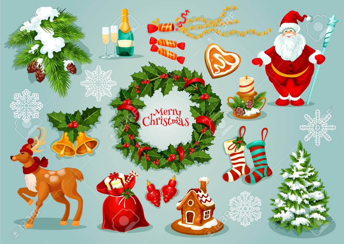 Christmas Day Images.Christmas Day Holiday Celebration Icon Set With Xmas Holly Wreath