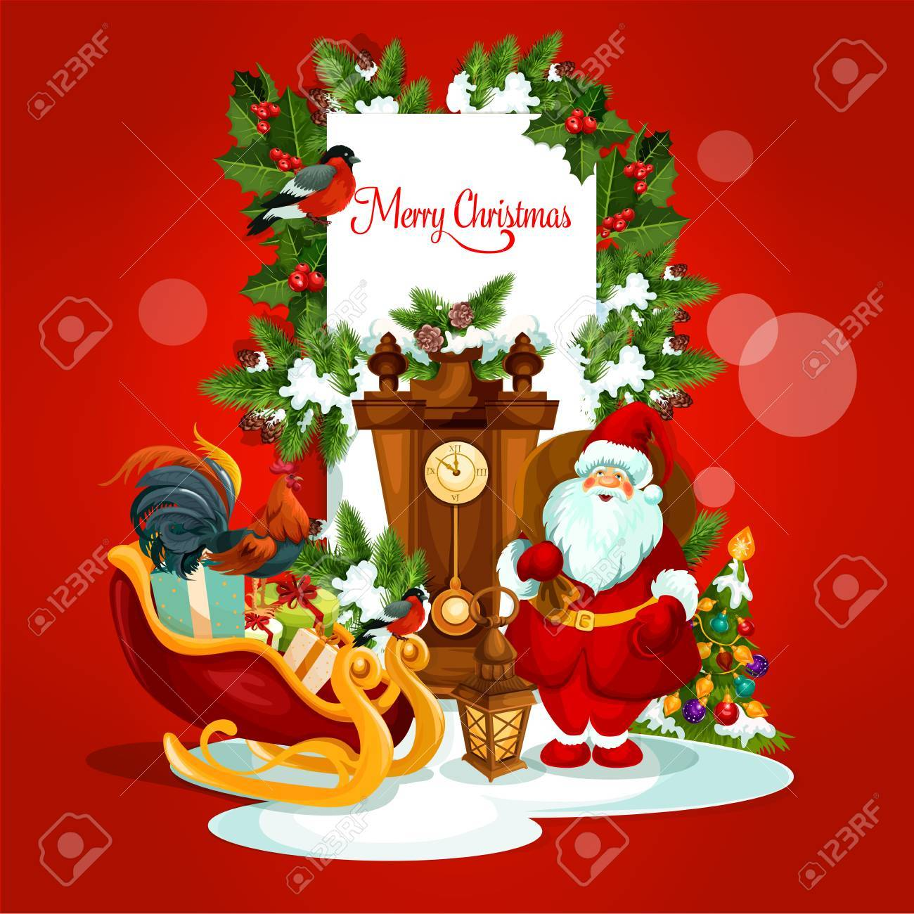 Merry Christmas Card Of Santa Claus With Gift, Xmas Tree With ...