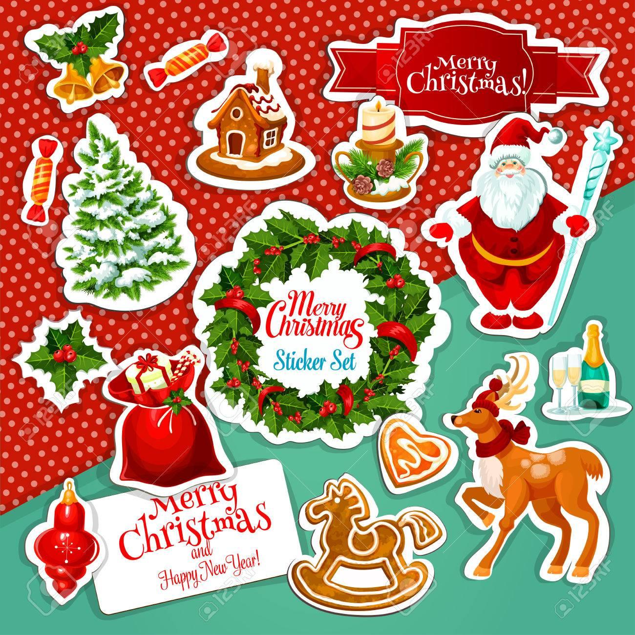 ea5e9bdfa7 Autocollant De Vacances De Noël Avec Père Noël, Sac Cadeau Avec Présent,  Canne En Bonbon, Couronne De Baies De Houx Avec Ruban Et Cloche, Pin,  Bougie, ...