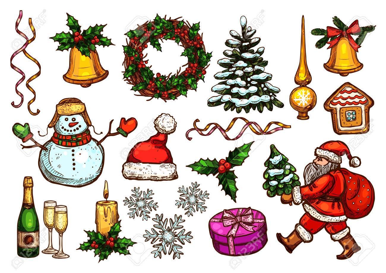 Christmas Day Holiday Sketch Set Of Santa With Xmas Tree, Gift ...
