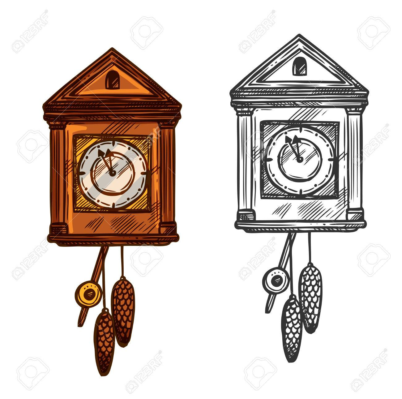 Reloj Del Ano Nuevo Vector Aislado Reloj De Pared De Cuco Dibujo