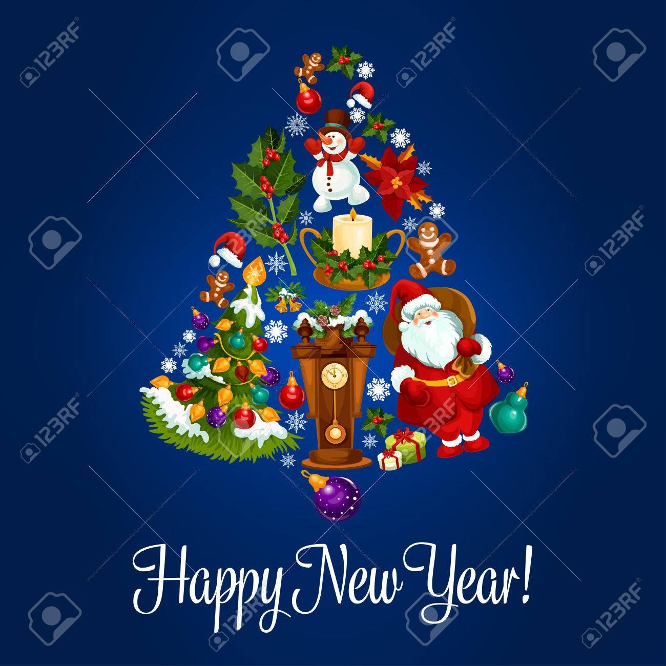 Frohes Neues Jahr. Vector Plakat Mit Weihnachten Symbole Von ...