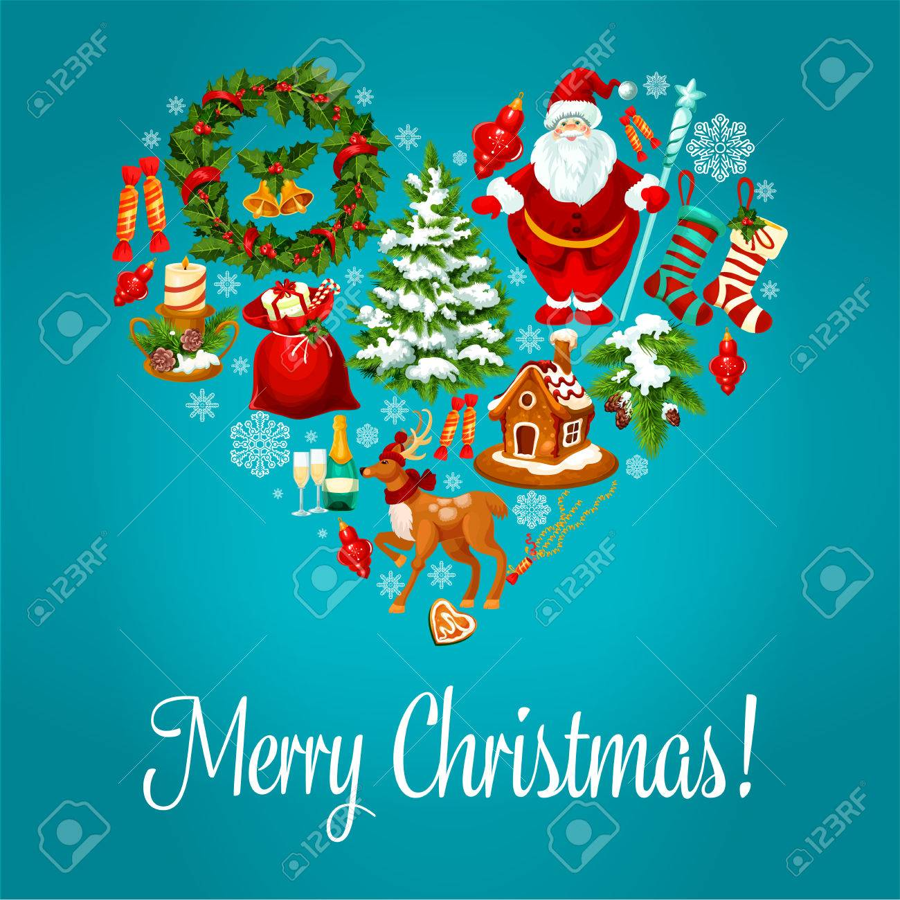 Merry Christmas Vector Greeting With Christmas Symbols In Heart