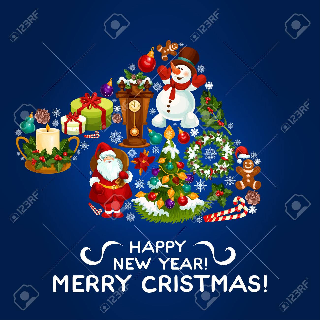 Happy New Year Greeting Card Poster Vector Christmas Symbol