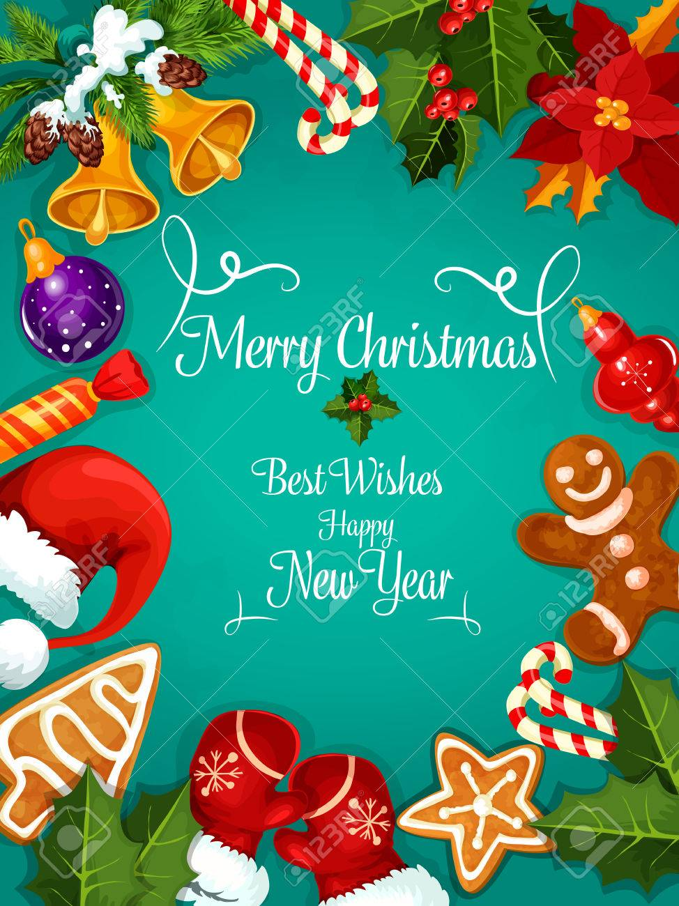 Merry Christmas And New Year Greeting Card Poster Best Wishes