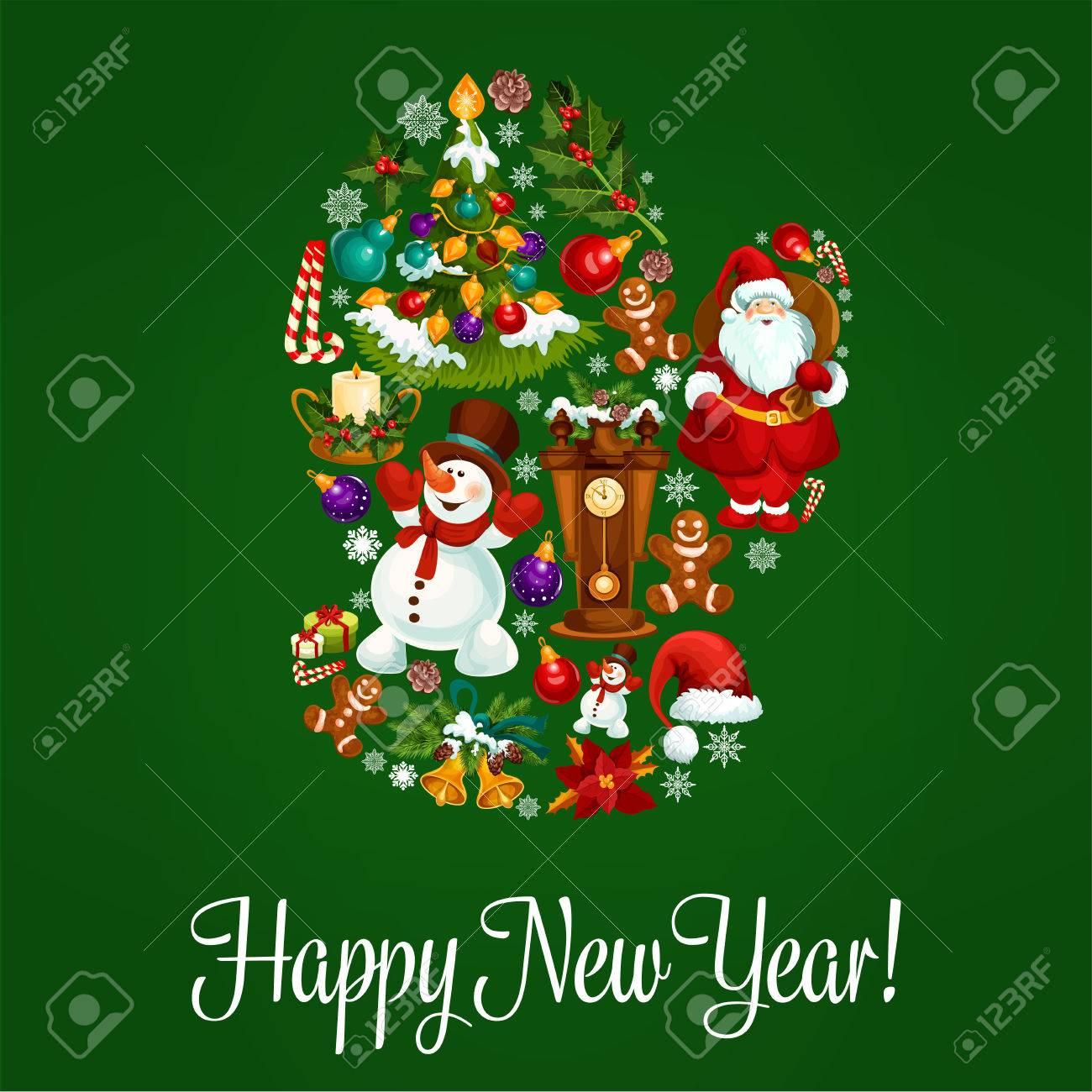 Gluckliches Neues Jahr Vektor Plakat Grusskarte Mit Dem Symbol Des