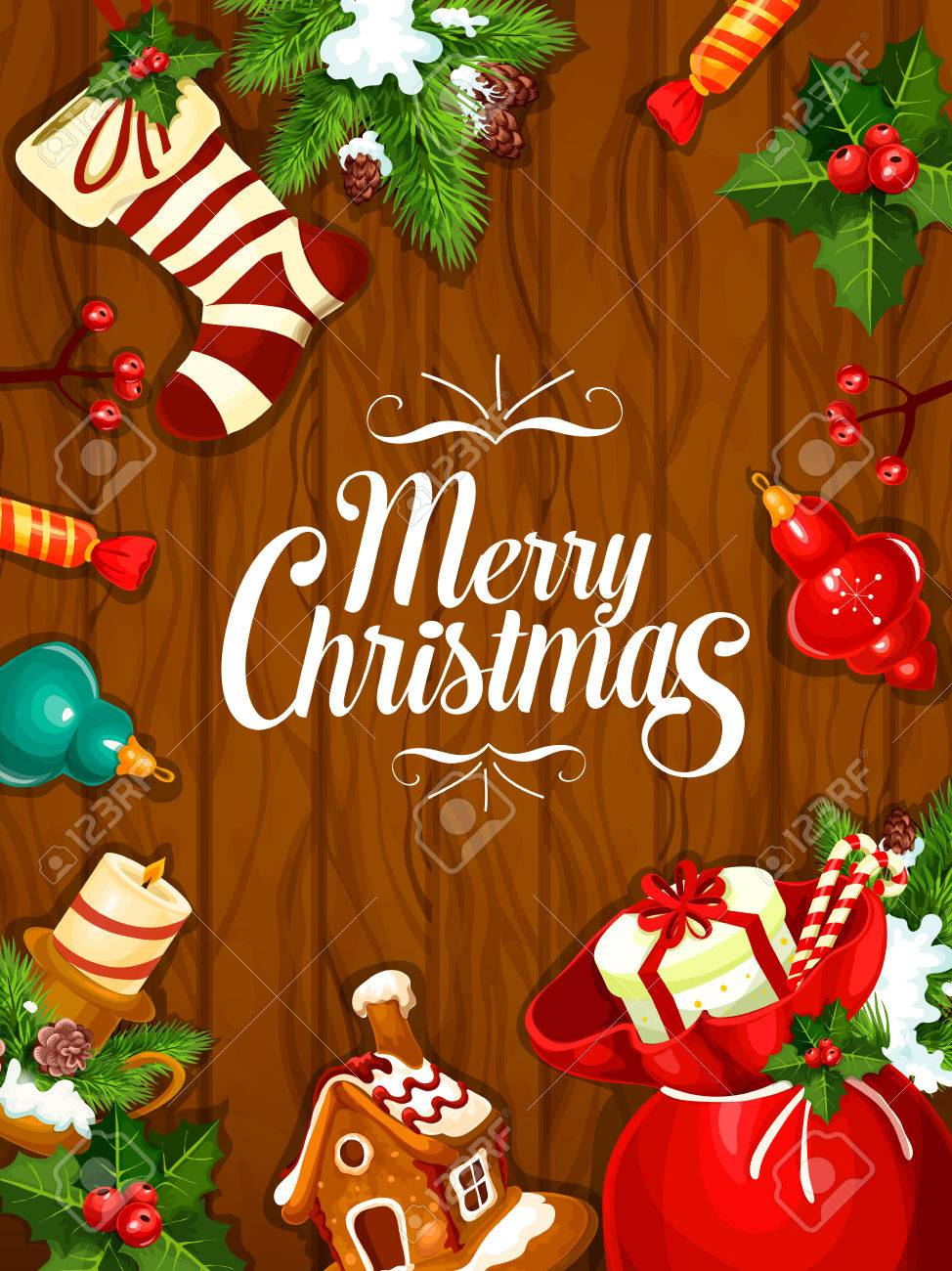 Merry Christmas Greeting Poster Card Of Christmas Tree Ornaments
