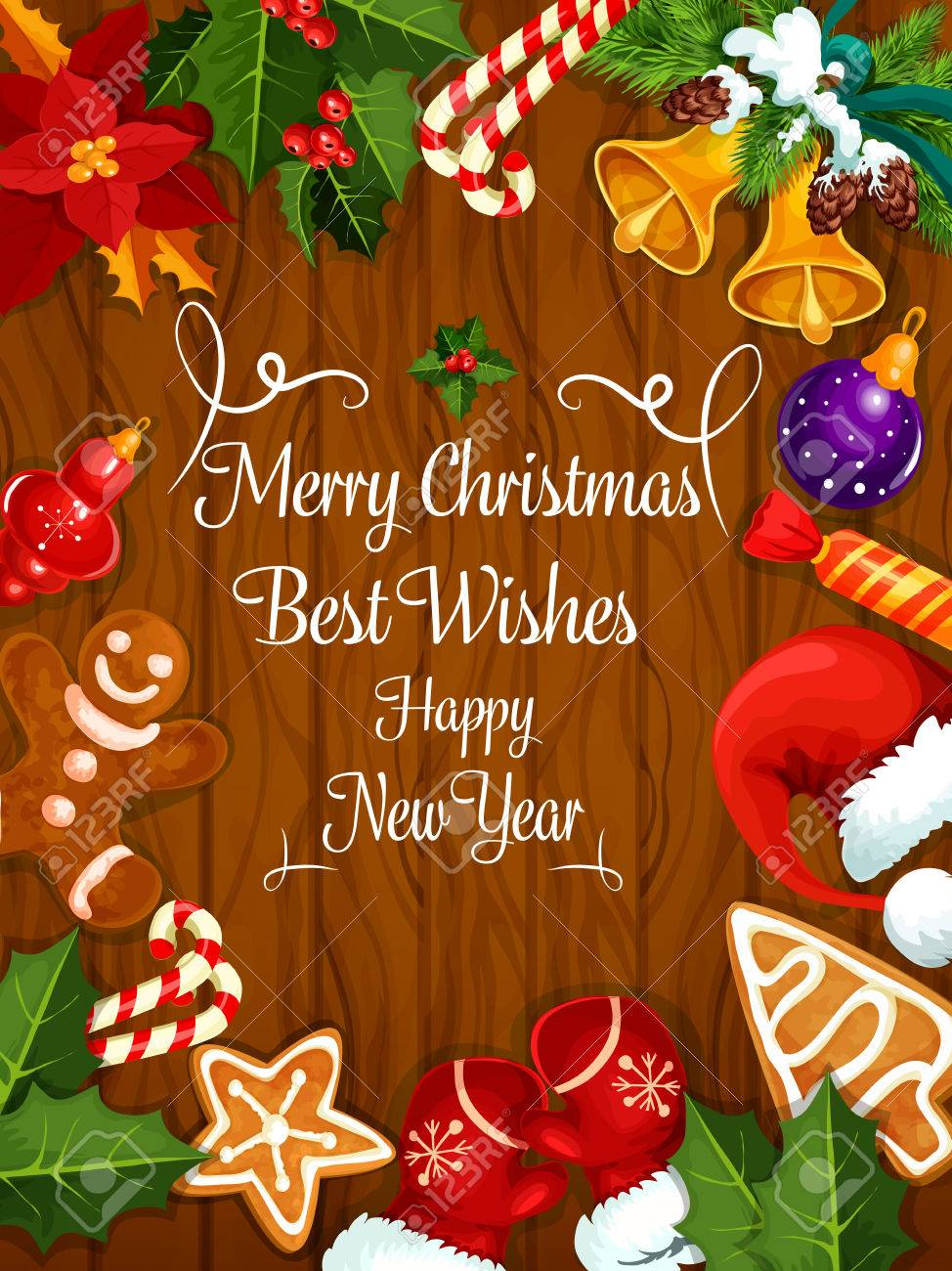 Merry Christmas Greeting Card, New Year Best Wishes Poster With ...