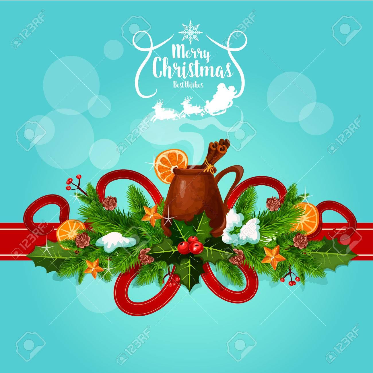 abbastanza Cartolina D'auguri Di Natale Con I Migliori Auguri. Vector Poster  NX21