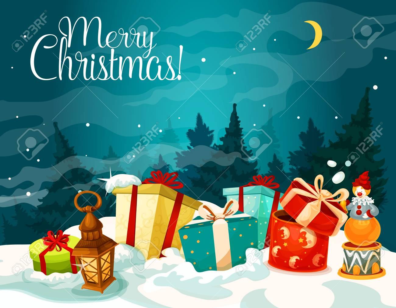 Weihnachtsgeschenkkasten Mit Weihnachts Nacht Wald Grußkarte ...