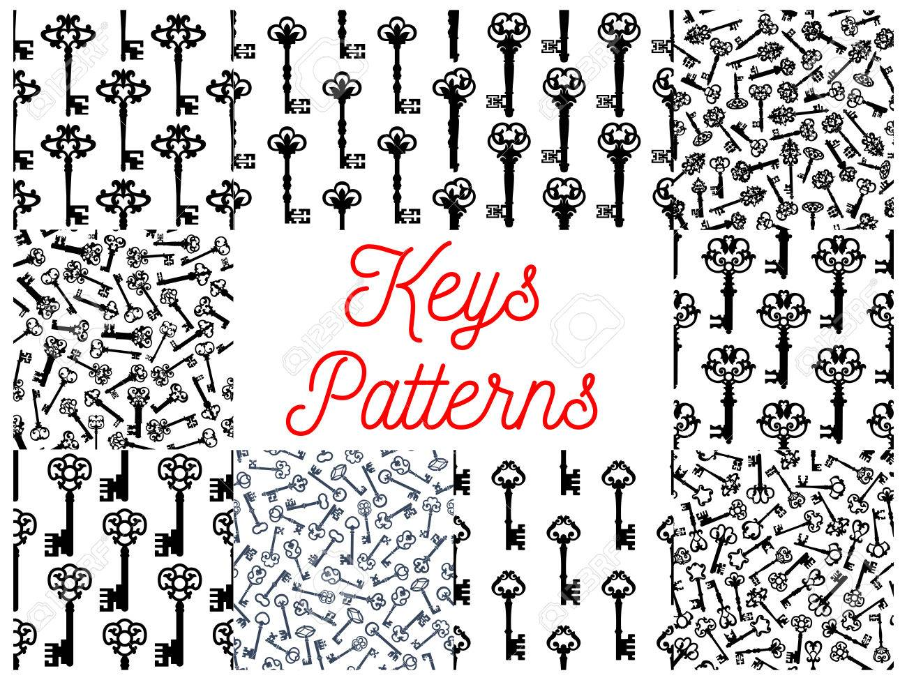 Vintage Key Seamless Pattern Set Of Old Door And Victorian