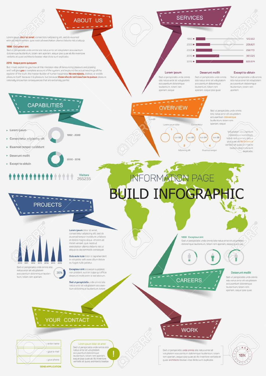 Build infographic with world map presentation information page build infographic with world map presentation information page with pie chart step diagram and gumiabroncs Gallery