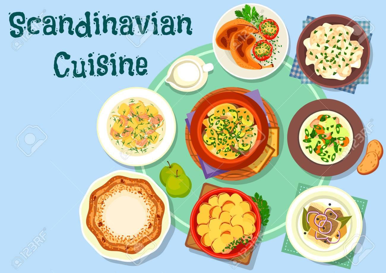 Scandinavian Cuisine Dinner Menu Icon With Salmon Cream Soup