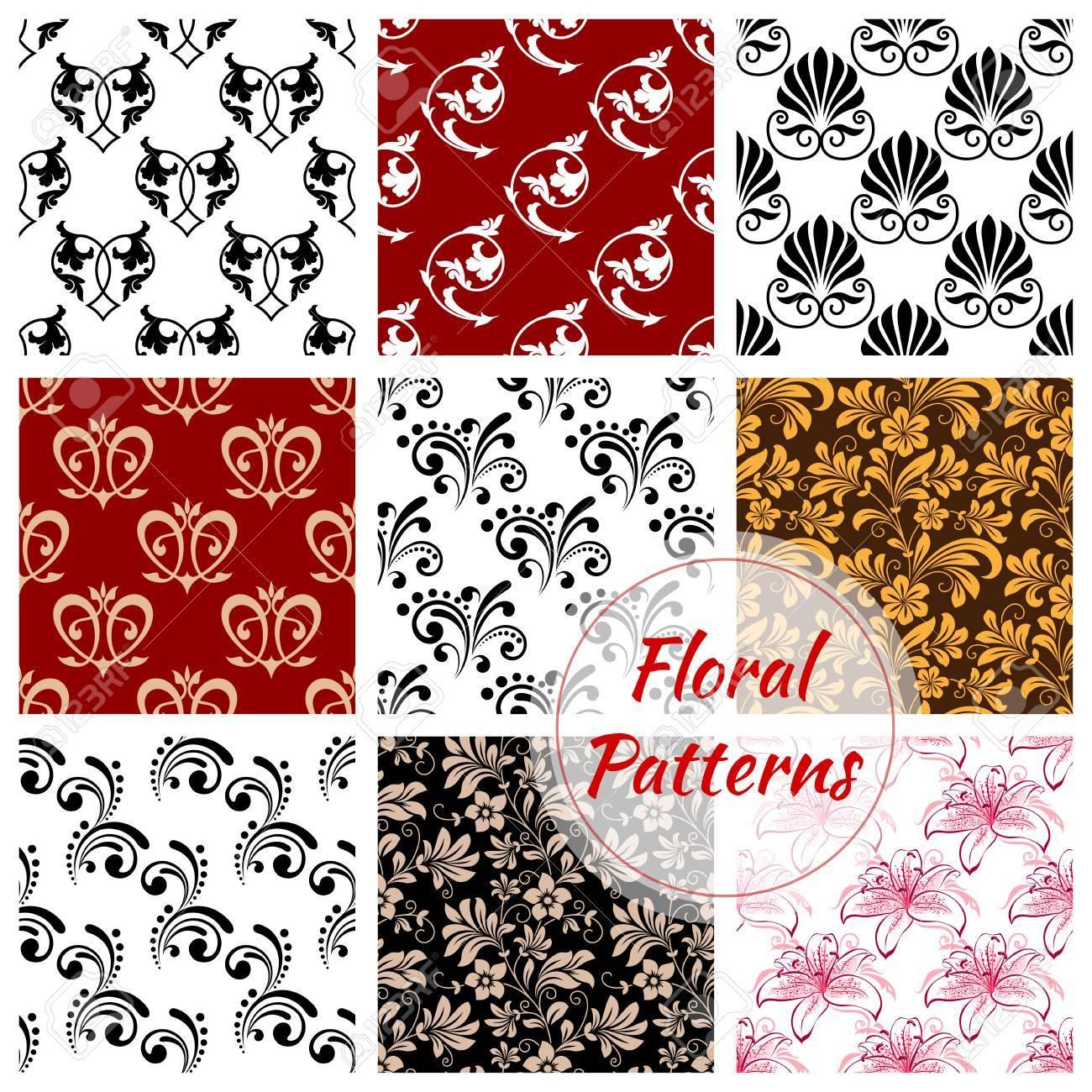 Floral Nahtlose Muster Hintergrund. Set Blume Blühen Mit Blatt,  Viktorianischen Schnörkel Und Wirbelnde Linie