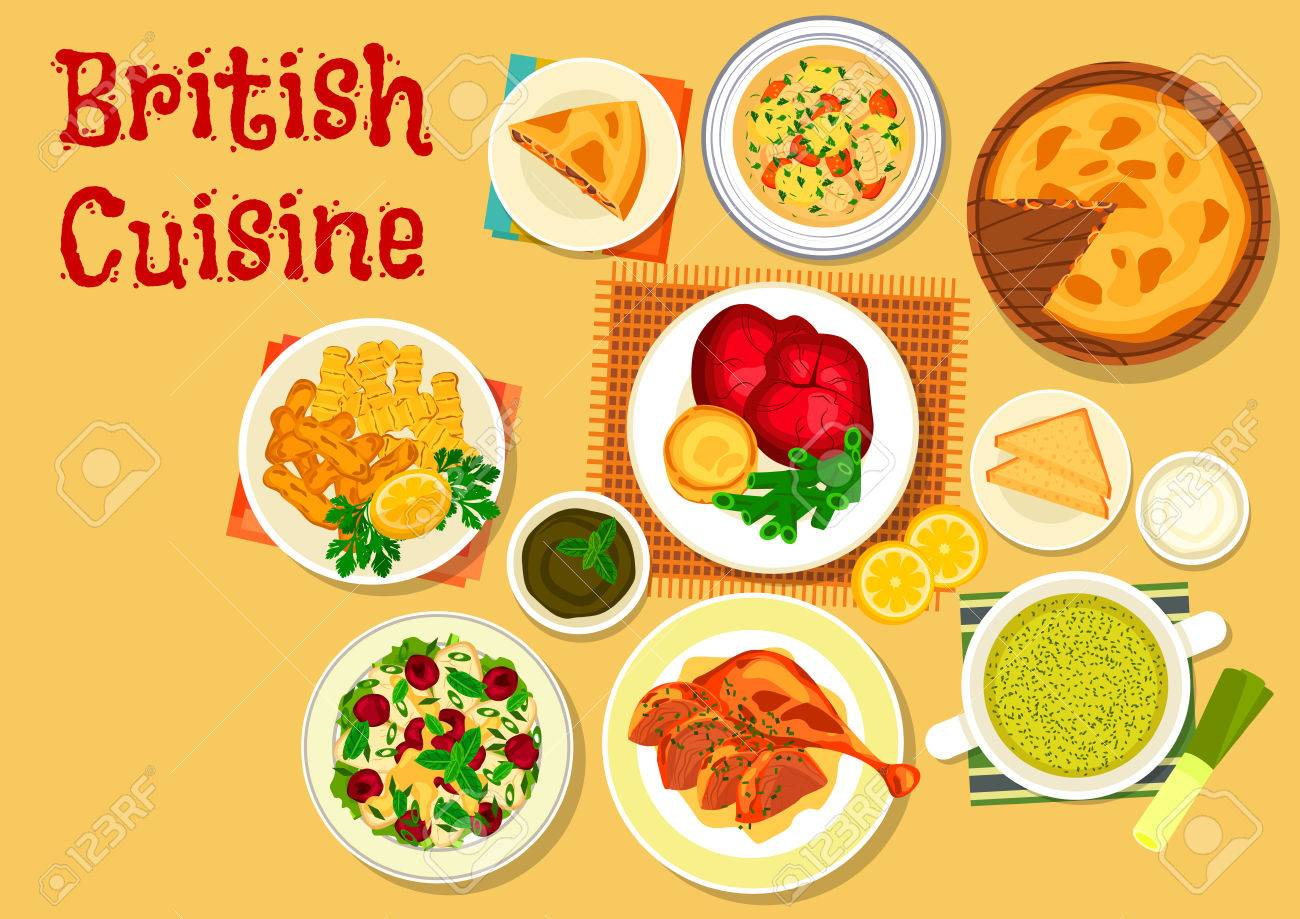 Britische Küche   Britische Kuche Traditionelle Roastbeef Mit Yorkshire Pudding Symbol