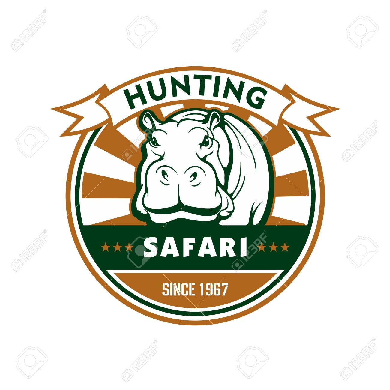 Hunting Sport And African Safari Symbol. Hippo, Framed By Round ...