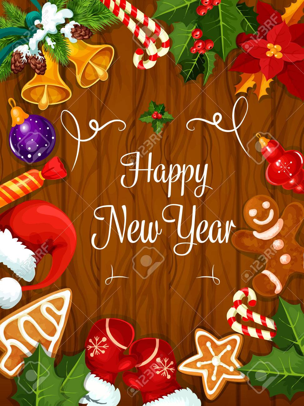 Happy new year greeting card or poster best wishes happy new year greeting card or poster best wishes congratulations from new year holiday celebration kristyandbryce Choice Image