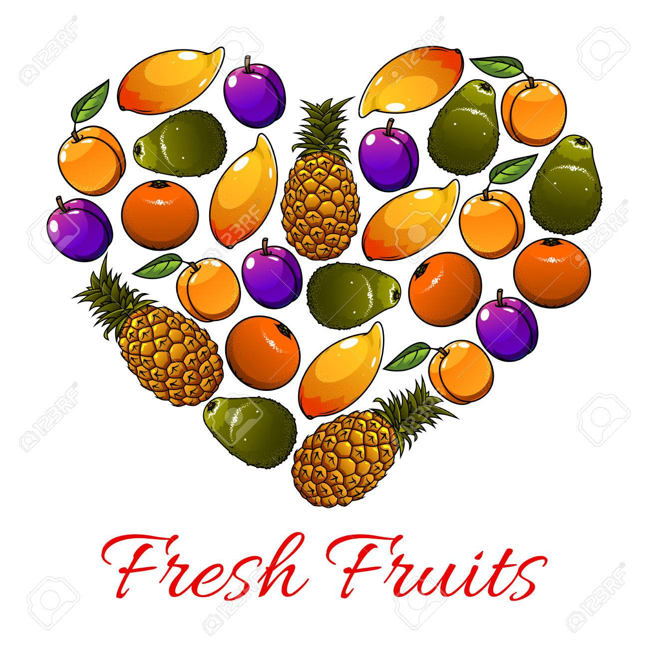 Fruits poster vector heart shape of mango pineapple plum fruits poster vector heart shape of mango pineapple plum orange apple biocorpaavc
