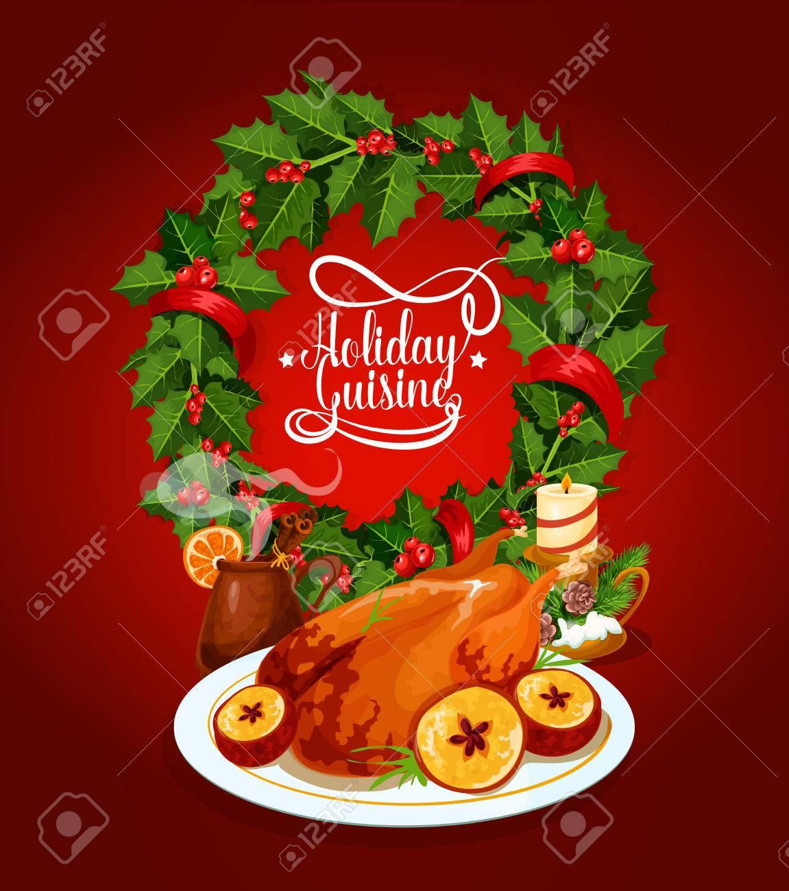 Tacchino Di Natale Di Festa Manifesto Della Cucina. Al Forno ...