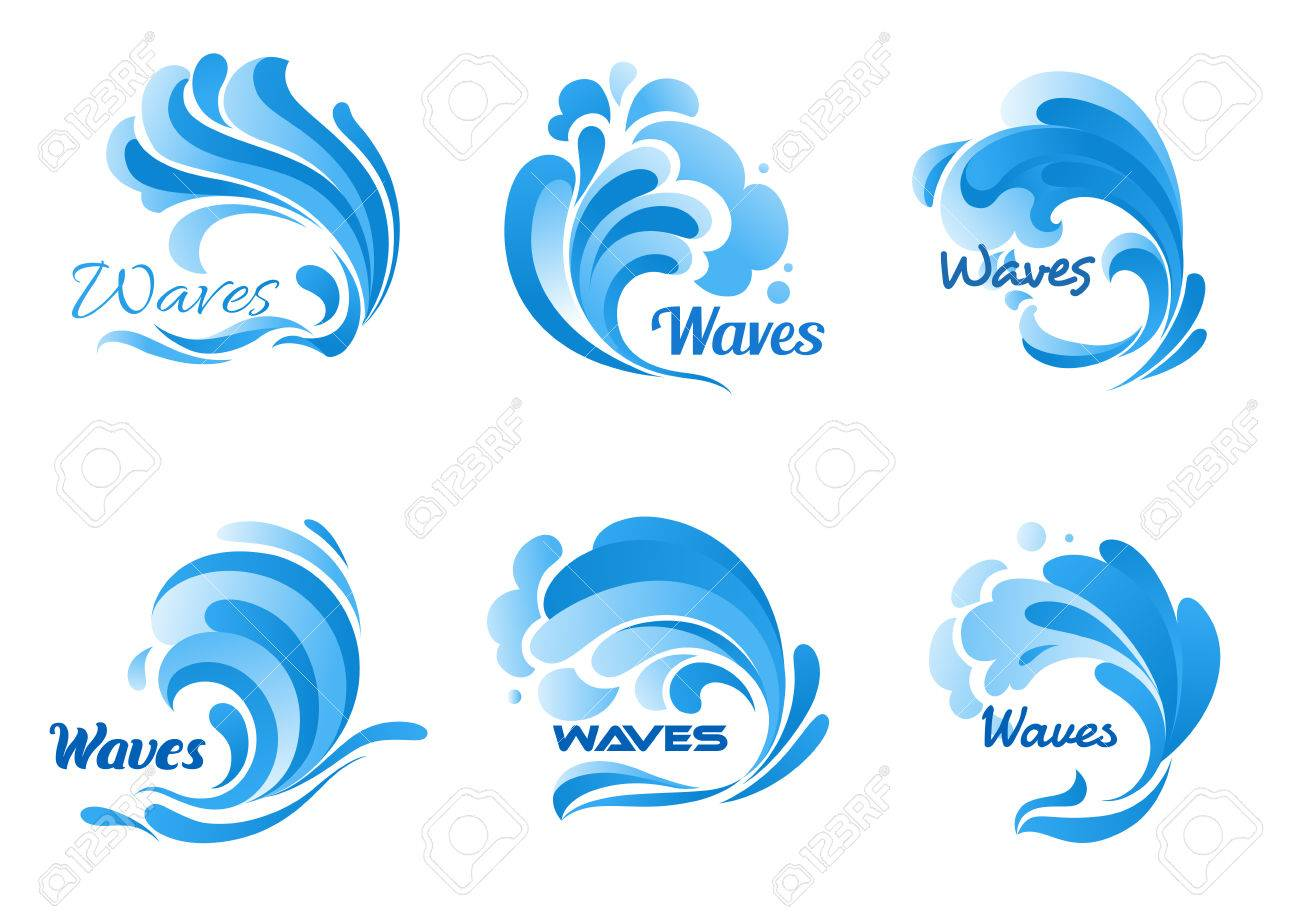 Waves Vector Isolated Icons Water Ocean Wave Splash Tide Water