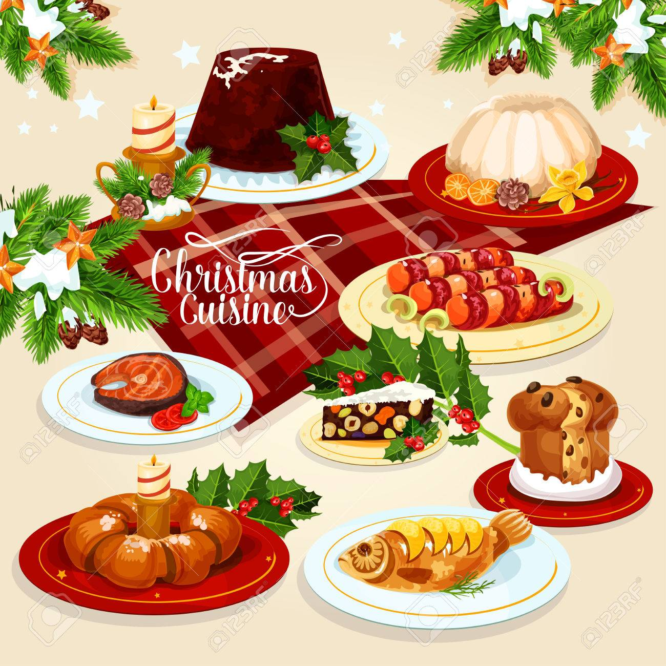 Weihnachten Festliche Gerichte Menü-Symbol Von Weihnachten Pudding ...