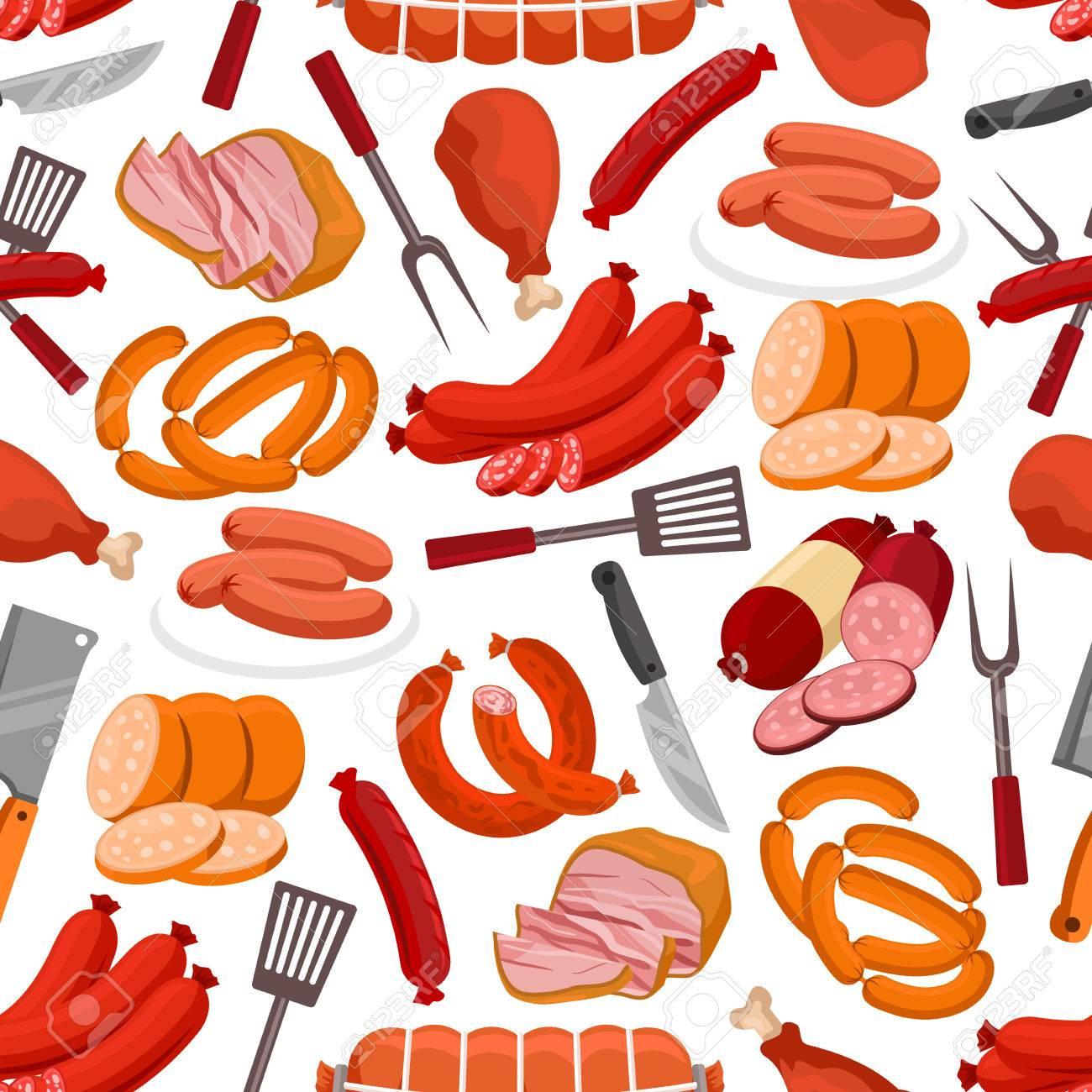 Meat delicatessen pattern. Vector seamless background of sausages, smoked bacon, roast beef, beef steak, ham, pork wurst, salami, schnitzel, grilled chicken leg, grill fork, knife, spatula - 66192292