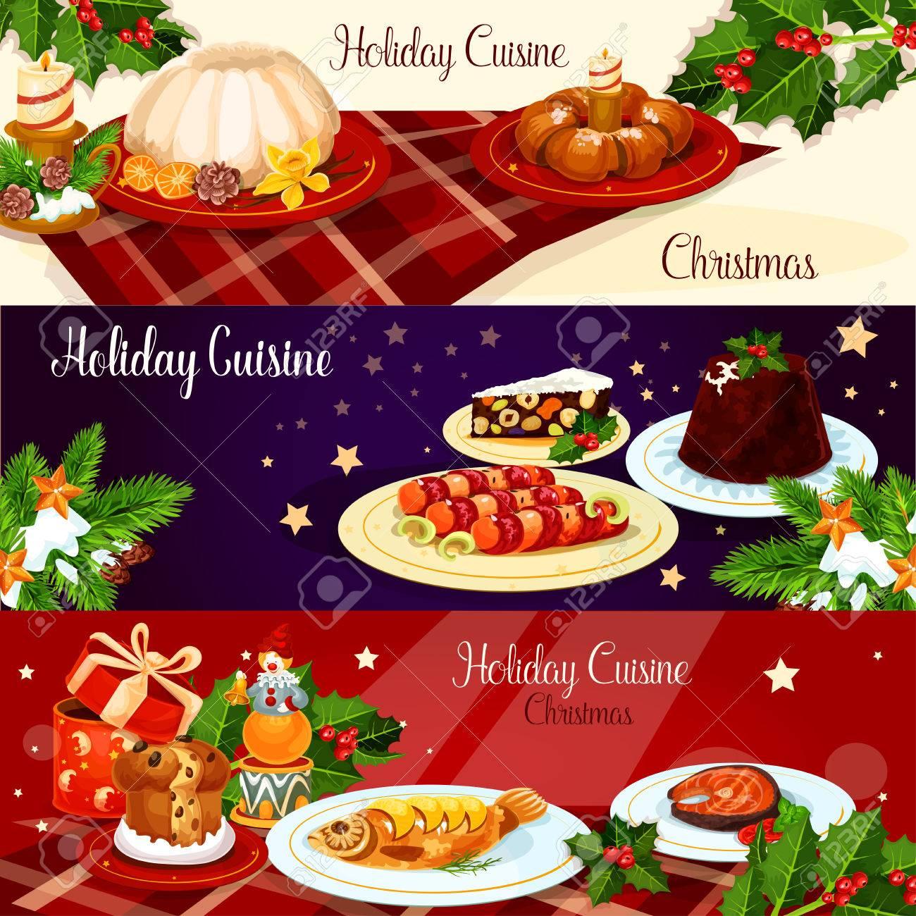 christmas holiday cuisine banner set british xmas pudding smoked salmon stuffed fish - British Christmas