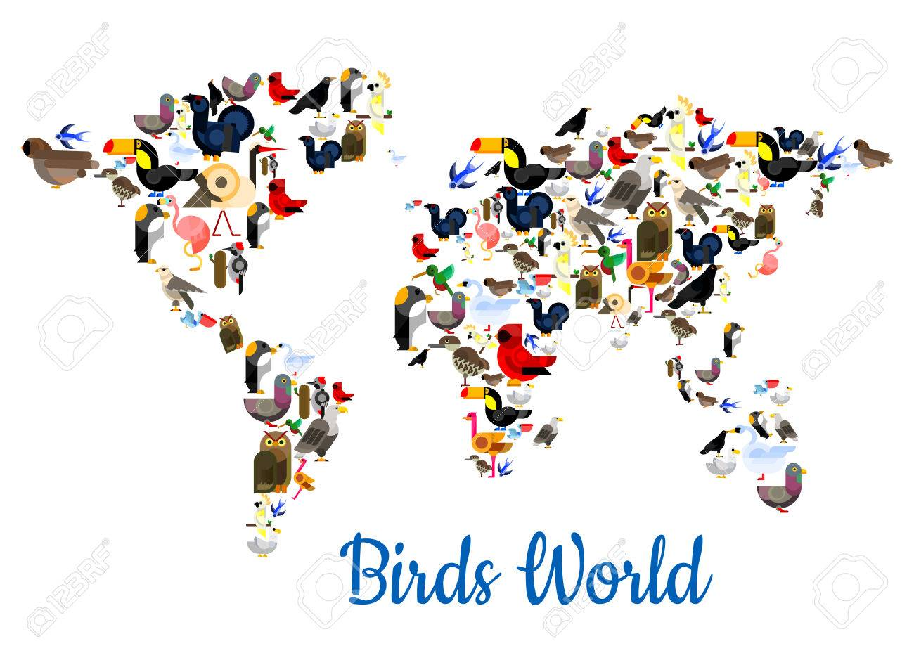 Birds world poster in shape of world map with continents vector birds world poster in shape of world map with continents vector flamingo peacock gumiabroncs Image collections