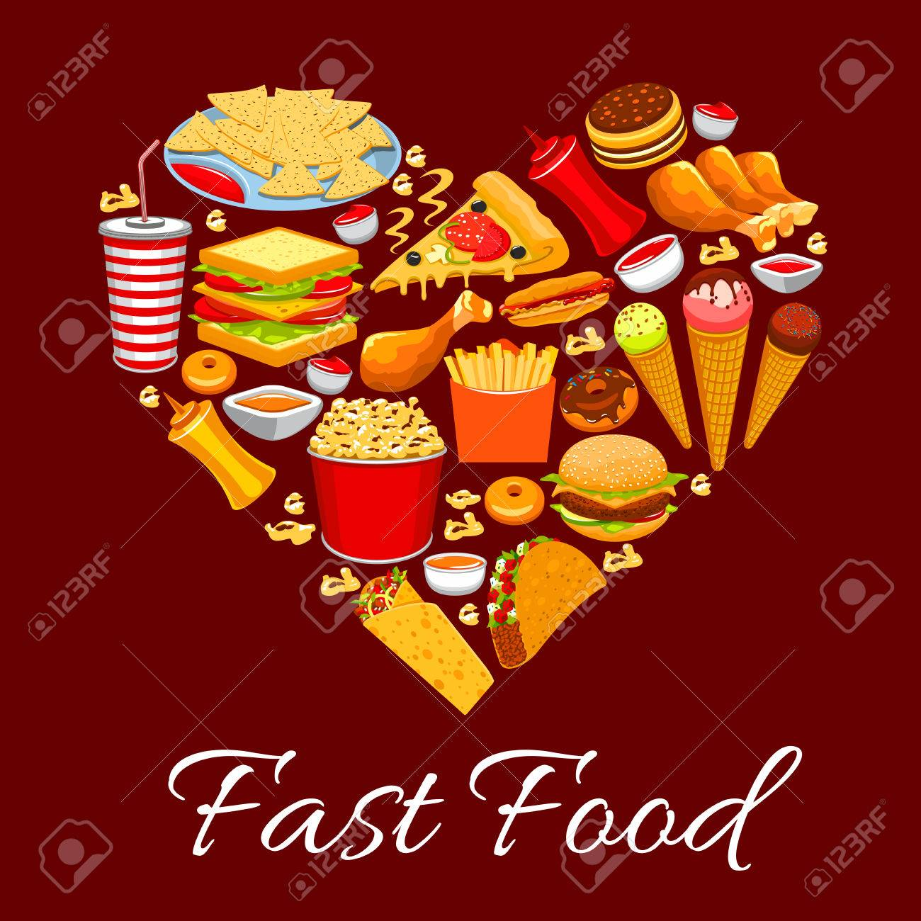 Fast Food Poster Heart Of Vector Fast Food Cheeseburger French