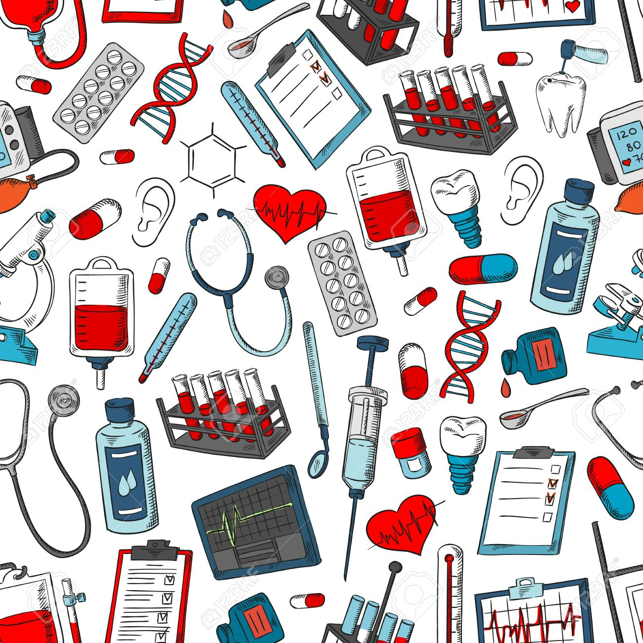 Medical Tools And Medicine Pattern Vector Seamless Background