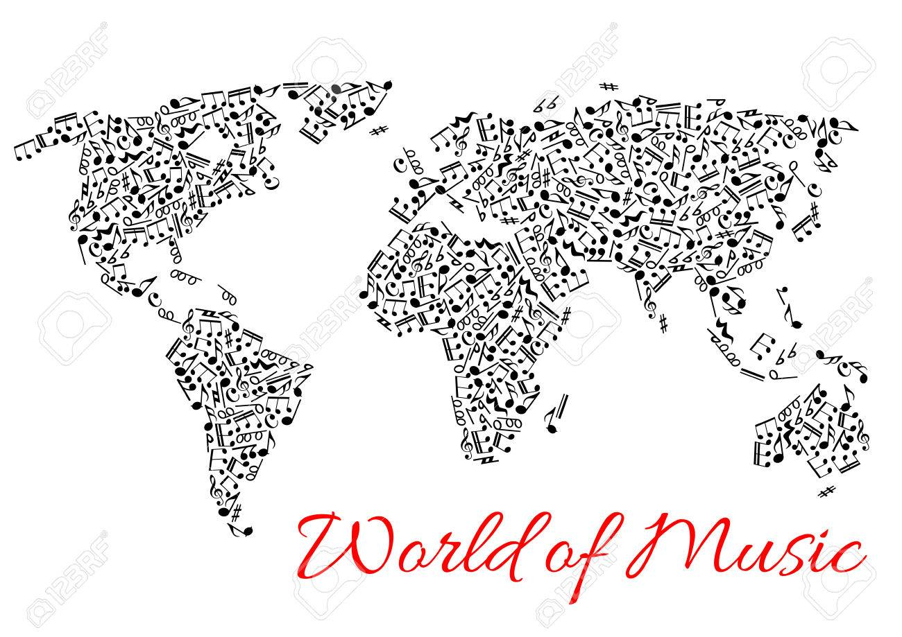 Musical Notes In Shape Of World Map Vector Icons Of Music Stave