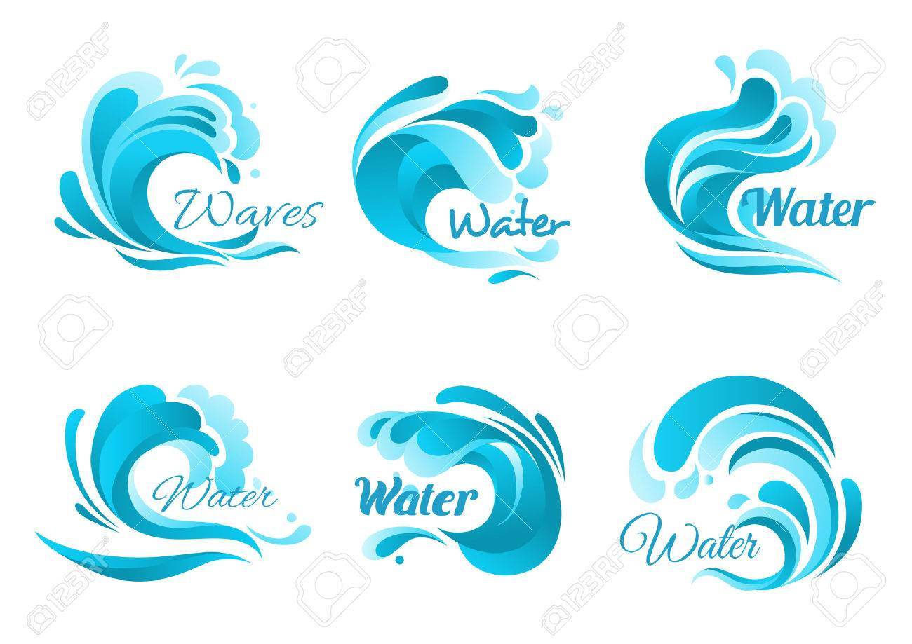 Waves vector isolated icons ocean water wave blue symbols in ocean water wave blue symbols in form of splashes tide biocorpaavc Images