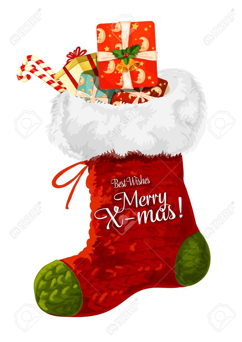 Weihnachtssocke Mit Geschenk Winterurlaub Grußkarte. Festlicher ...