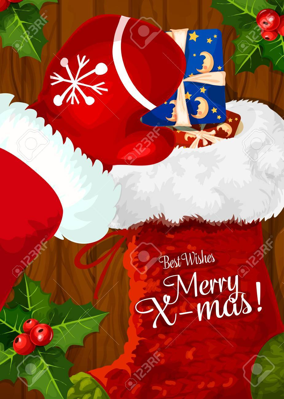 e31969e0 Santa Claus putting gift box into Christmas sock greeting card on wooden  background with holly berry