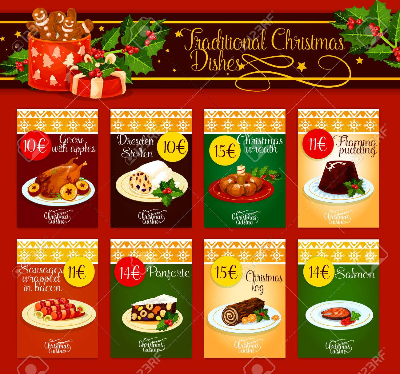 Christmas Dinner Menu Template With Meat, Fish And Pastry Dishes. Christmas  Turkey And Chocolate  Free Christmas Dinner Menu Template