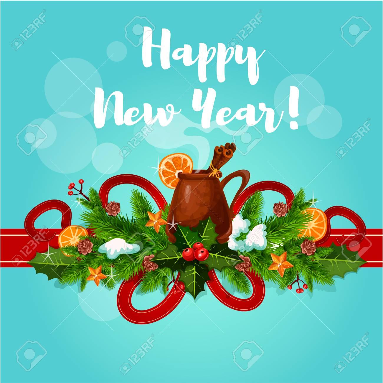 Glückliches Neues Jahr Gruß Besten Wünsche Vektor-Plakat. Glühwein ...