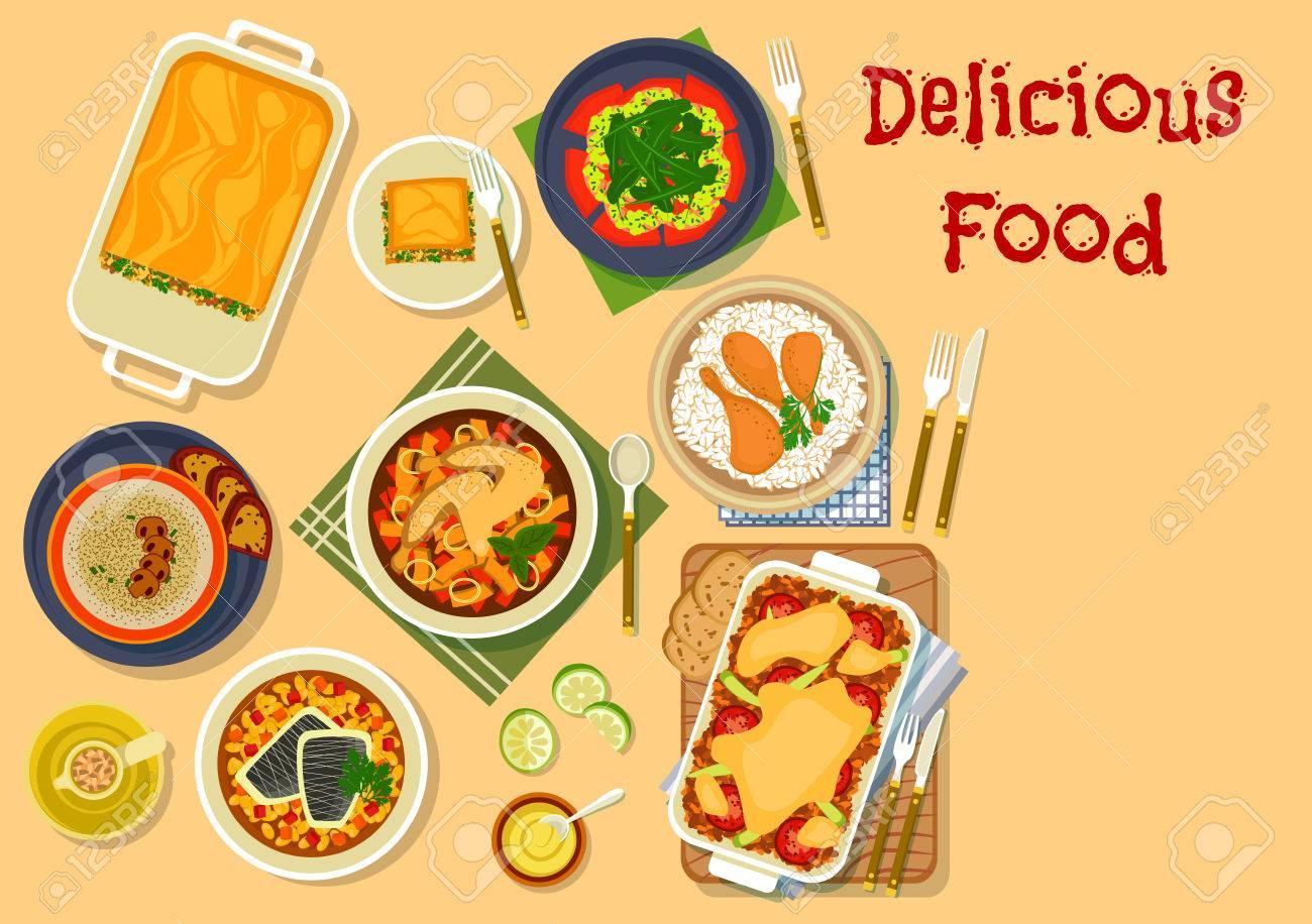 Abendessen Gerichte Symbol Mit Huhn In Senfsauce Mit Reis, Lasagne ...