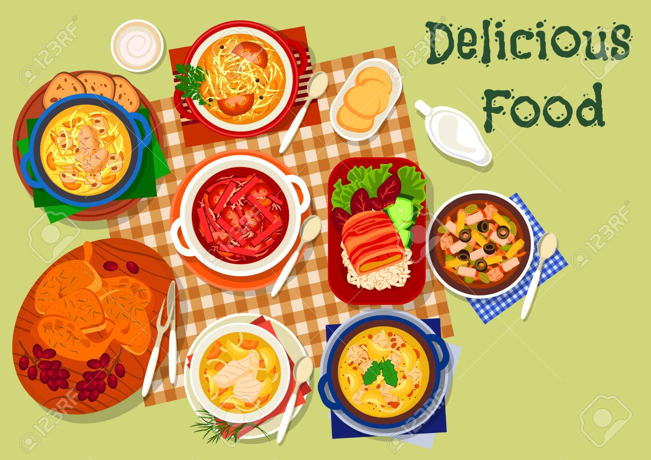 Russische Küche Abendessen Symbol Mit Huhn Pilzsuppe, Kohlsuppe Mit ...