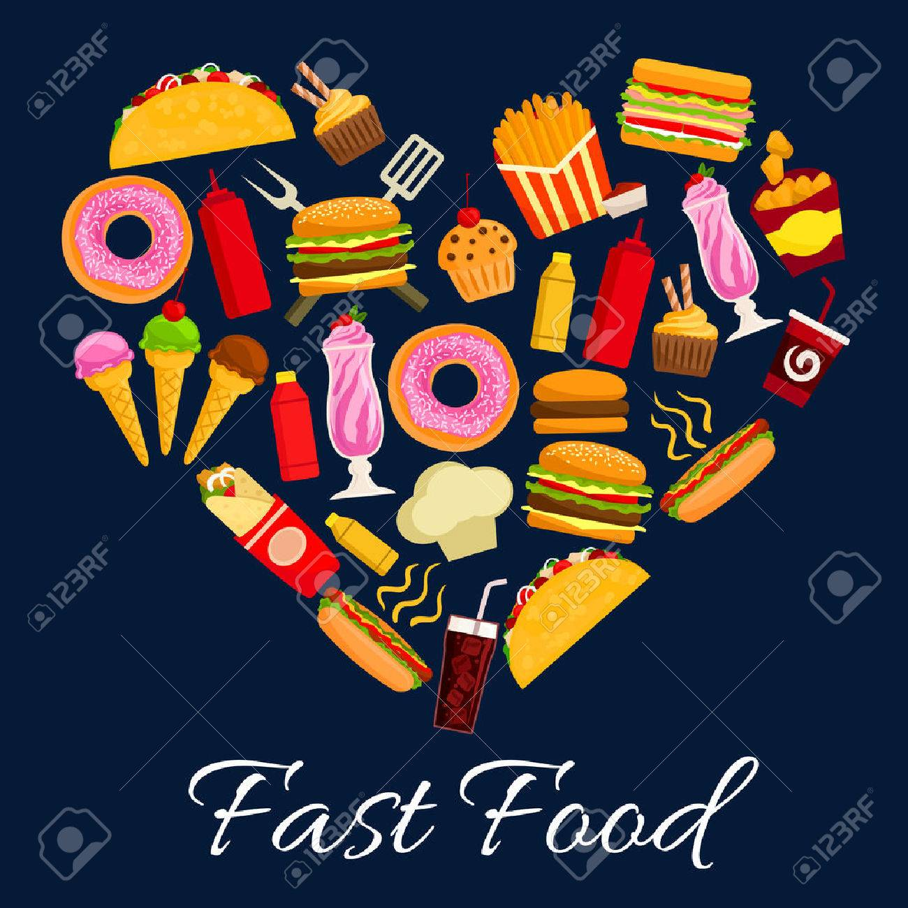 Fast food heart symbol of vector flat icons of cheeseburger pizza fast food heart symbol of vector flat icons of cheeseburger pizza and burrito french biocorpaavc