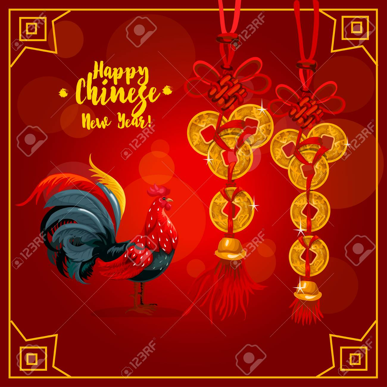 Chinese New Year Greeting Card Chinese Zodiac Rooster And Golden