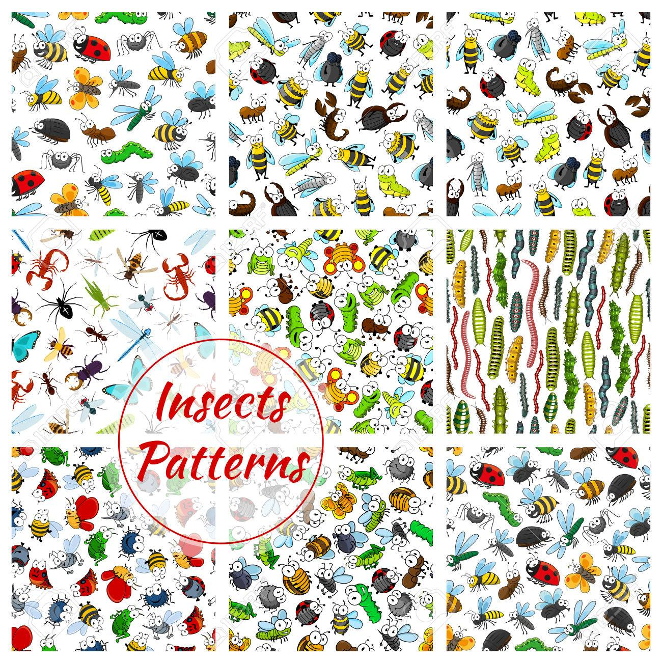 insects and bugs patterns set cartoon smiling bee worm and