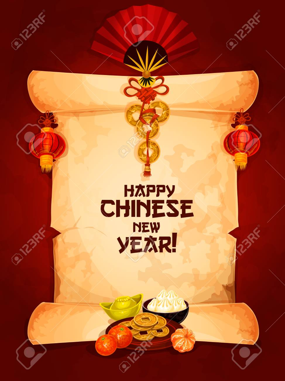 Frohes Neues Jahr Wünscht, Auf Alten Papierrolle Mit Roten Laterne ...