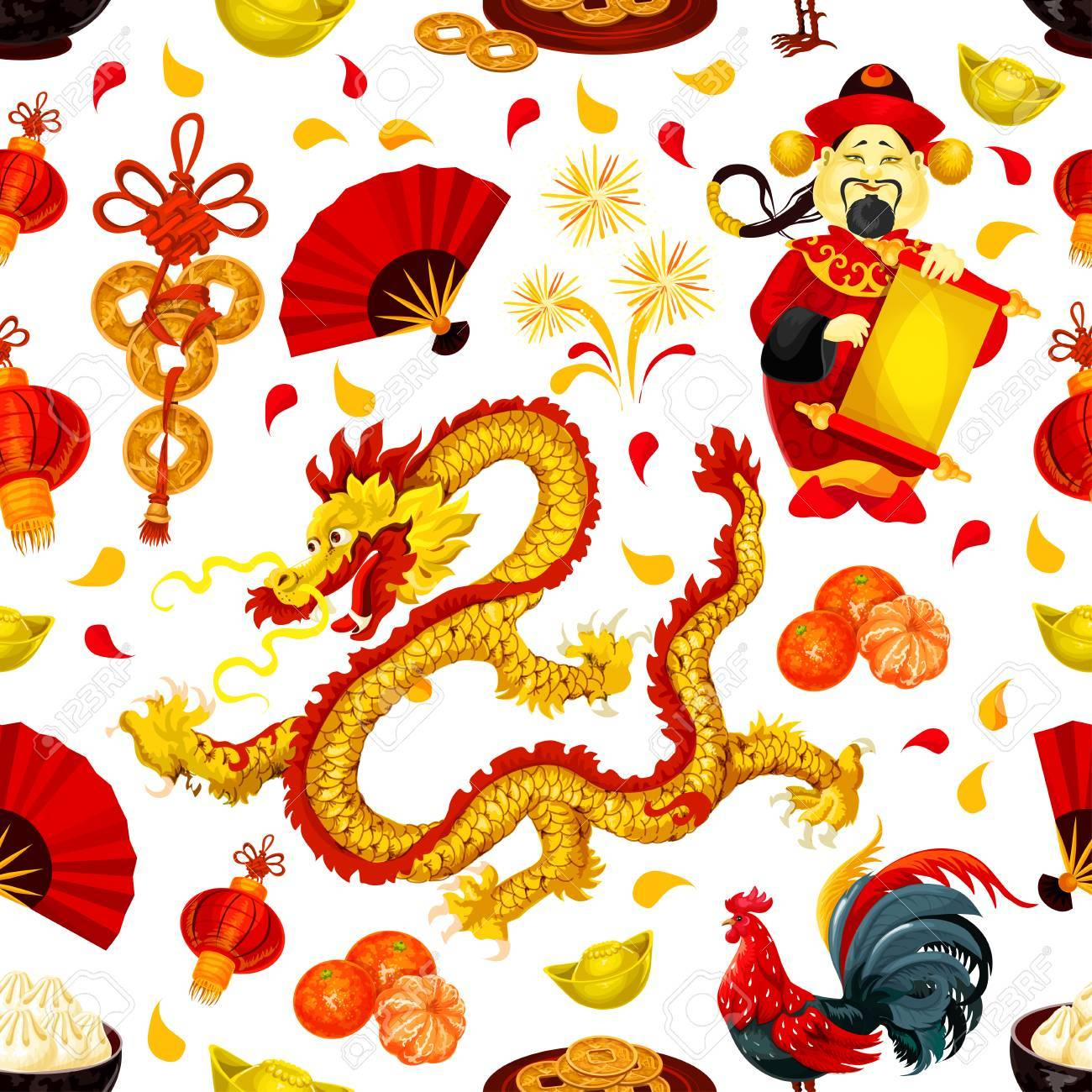 chinese new year symbols seamless pattern with red rooster lantern golden coin dragon - Chinese New Year Symbols