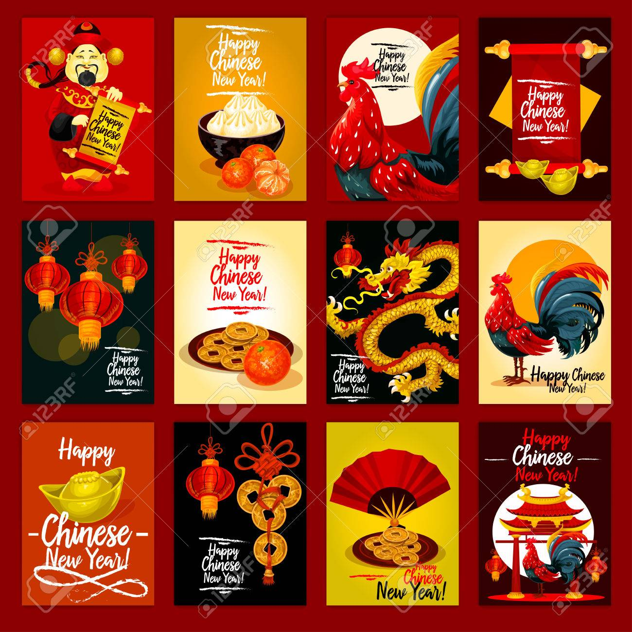 Chinese lunar new year greeting card set red lantern rooster chinese lunar new year greeting card set red lantern rooster golden coin m4hsunfo